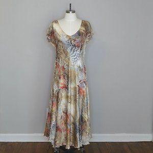 Komarov floral/lace romantic crinkle fabric dress